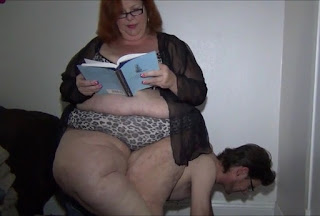 Mature chubby slave play with chair